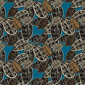 Scattered Paisley Leaves - blue/brown