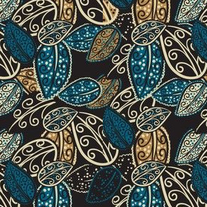 Scattered Paisley Leaves - blue/black