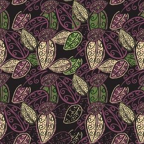 Scattered Paisley Leaves - Purple