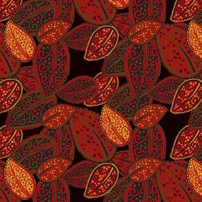 Scattered Paisley Leaves - Red/black