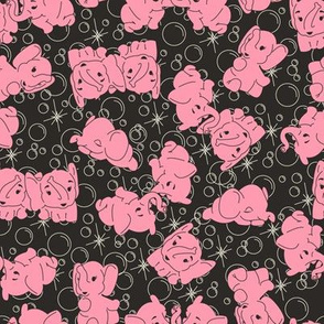 Pink Elephants- Black Background