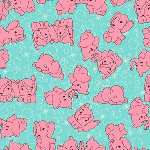 Pink Elephants- Turquoise Background