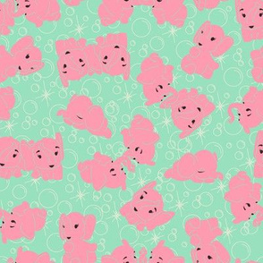 Pink Elephants- Mint Background and Outline