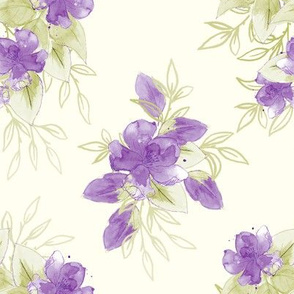 Watercolor Blooms - Purple