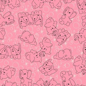 Pink Elephants- Pink Background