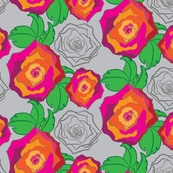 Rose Floral on Gray