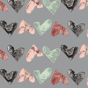 heart stamps on grey