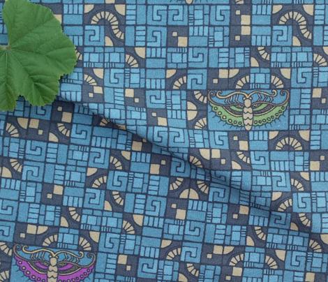 Five Tiles & Butterflies - blue, gold