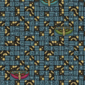 Five Tiles & Butterflies - blue, gold