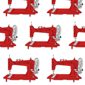 Sew Vintage Sewing Machines in Red