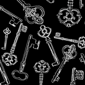 "Stylized Antique Keys on Black (4"")"
