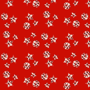 Candy Stars and Balls - Red