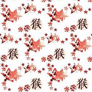 Chinese Balls and Stars Falling - White
