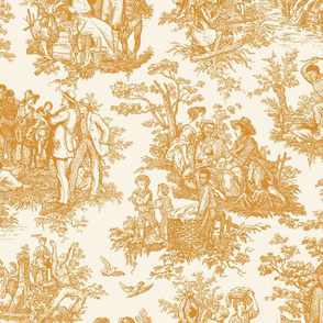 French Toile...Negro Toil (Orange / Cream)