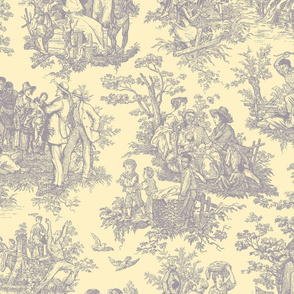 French Toile...Negro Toil (Lavendar / Yellow)