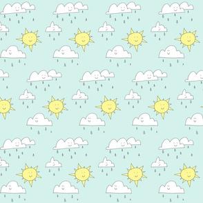 rain clouds and sun