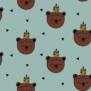 Bear Indian Spirit - Mint Background