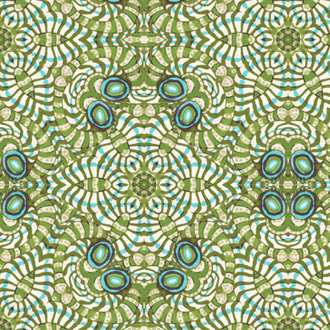 Olive and Aqua Green Kaleidoscope Stripes and Dots