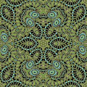 Black Aqua Green Kaleidoscope Stripes and Dots
