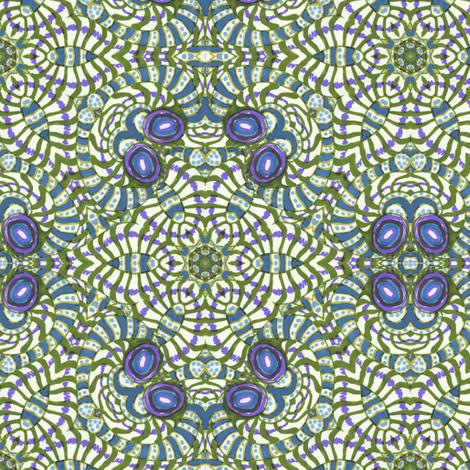Blue Purple Kaleidoscope Stripes and Dots