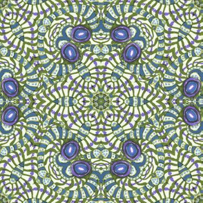 Blue Purple Kaleidoscope Stripes and Dots