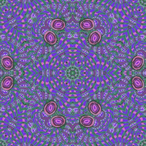 Purple Green Kaleidoscope Stripes and Dots