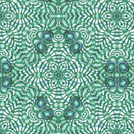 Blue Green Kaleidoscope Stripes and Dots