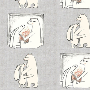 Bear loves Bunny Linen background