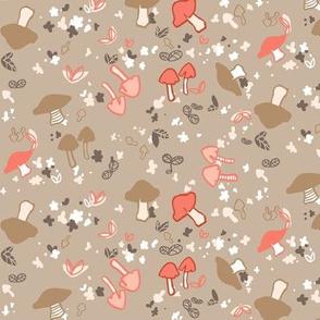 Mushrooms brown and pink