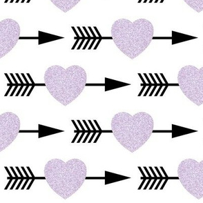 Lavender Glitter Shooting Hearts