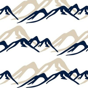 Mountains in Navy and Taupe