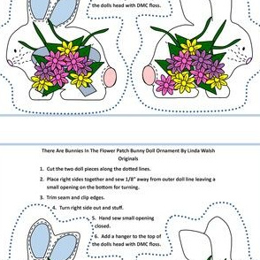 Bunnies In The Flower Patch Cut and Sew Doll Ornament