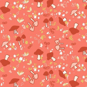 Mushrooms in red and pink