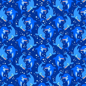 Cute Jolly Cartoon Dolphins Dark Blue by Cheerful Madness!!