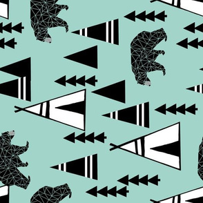 tipi forest // railroad southwest bear mint nursery print
