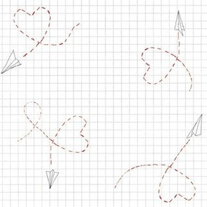 Paper airplane doodlw hearts