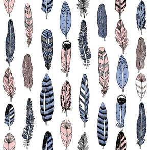 feathers // pink and blue feathers pantone rosequartz serenity periwinkle pink and blue feathers print