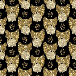 Simple Papillon faces - faux metalic gold