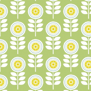Mod Flowers Green