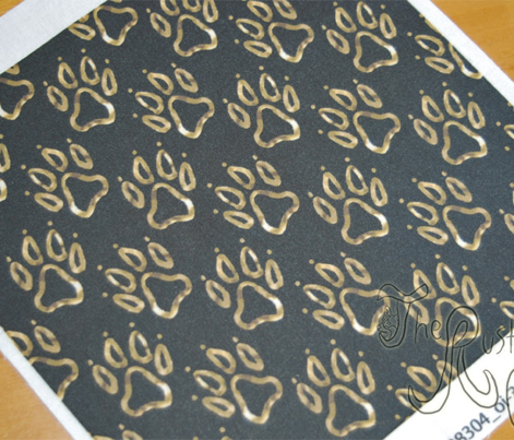 Faux metalic gold dog paw prints