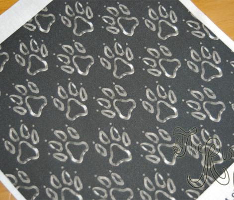 Faux metalic silver dog paw prints