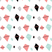 Kites in coral, turquoise, black and gray