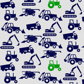 Trucks & Tractors In Navy & Green