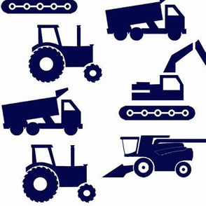 Trucks & Tractors In Navy Blue & Green