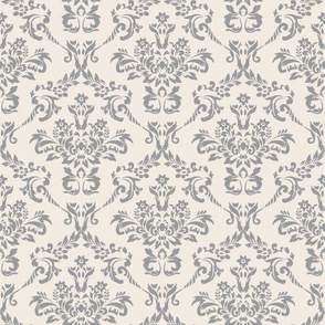 Cream and Gray Damask