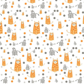 funny cats in gray and orange
