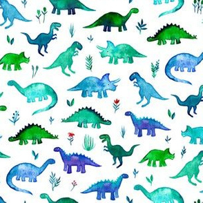 Tiny Dinos in Blue and Green on White