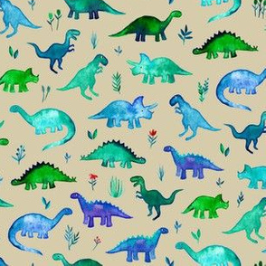 Tiny Dinos in Blue and Green on Tan