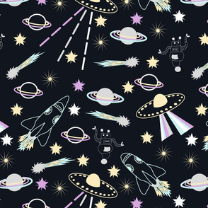 midnight spaceships large print