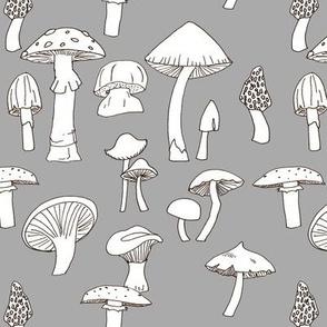 Hand drawn Mushrooms on Gray